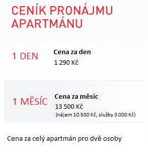 Ceník pronájmu apartmánu